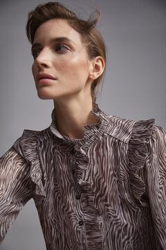 Pedro del Hierro Printed flounced blouse Grey