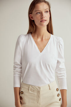 Pedro del Hierro Essential V-neck long-sleeved organic cotton t-shirt White