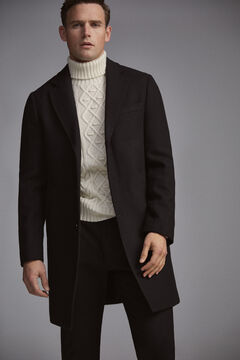 Pedro del Hierro Abrigo liso Negro