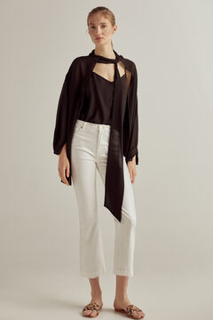 Pedro del Hierro Shiny leather-effect flared trousers Ecru