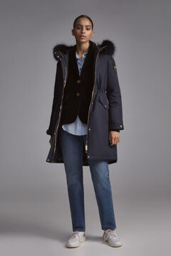 Pedro del Hierro Long hooded parka Blue