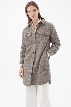 Pedro del Hierro Quilted overshirt coat Brown