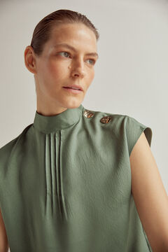 Pedro del Hierro High neck top with buttons Green