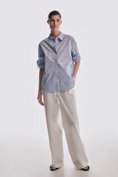 Pedro del Hierro Woven stripe T-shirt Blue