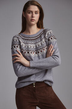 Pedro del Hierro Sequinned jacquard jumper Grey