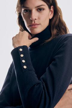 Pedro del Hierro Organic cotton polo neck tunic jumper Blue