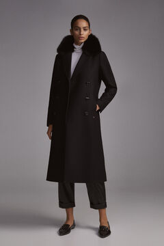 Pedro del Hierro Fox Collar Coat Black