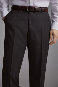 Pedro del Hierro Tailored fit birdseye trousers Grey