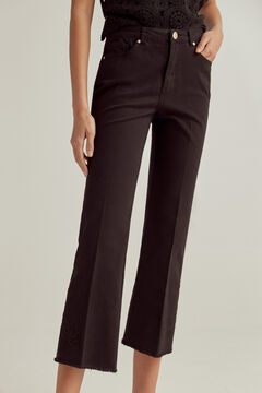 Pedro del Hierro Coloured embroidered flare fit trousers Black