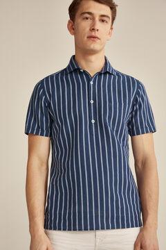 Pedro del Hierro Short-sleeved linen/cotton polo shirt Blue
