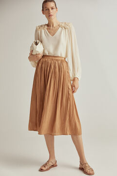 Pedro del Hierro Pleated midi skirt Beige