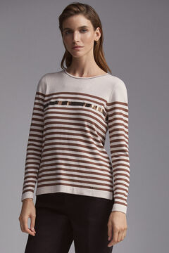 Pedro del Hierro Sequins striped jumper Brown