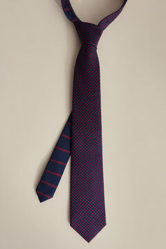 Pedro del Hierro Double bladed polka-dot tie Blue