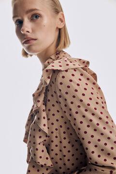Pedro del Hierro Printed flounced blouse Beige