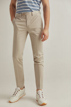 Pedro del Hierro Slim fit easy-iron stain resistant travel trousers Beige