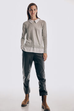 Pedro del Hierro Combined jersey-knit jumper Grey