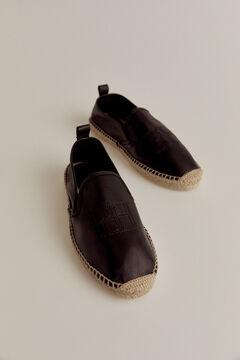 Pedro del Hierro Leather espadrille with logo  Black