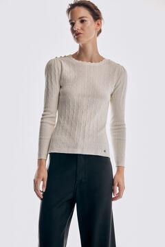 Pedro del Hierro Fine cross-knit jumper Ecru