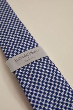 Pedro del Hierro Geometric jacquard tie Blue