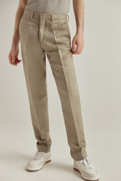 Pedro del Hierro 100% linen regular fit trousers Grey