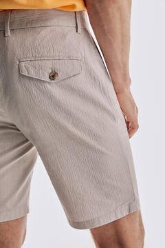 Pedro del Hierro Seersucker textured Bermuda shorts Beige