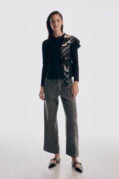 Pedro del Hierro Lace collar long sleeve T-shirt Black