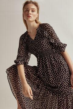 Pedro del Hierro Polka dots and ruffle dress Grey