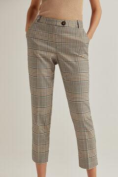 Pedro del Hierro Checked straight cut trousers Green