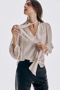 Pedro del Hierro Metallic fabric tie-front blouse Grey