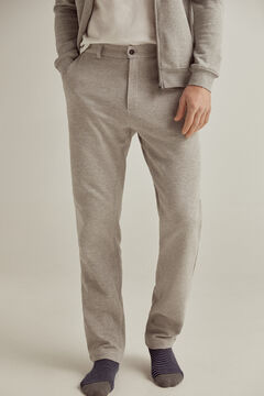 Pedro del Hierro Sustainable jersey-knit elasticated back waist slim fit trousers Grey