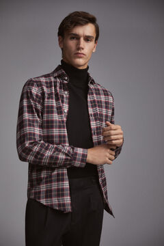 Pedro del Hierro Cashmere touch cotton tartan shirt Grey
