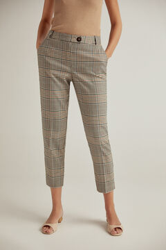 Pedro del Hierro Checked straight cut trousers Green