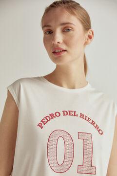 Pedro del Hierro Rubber logo t-shirt Beige