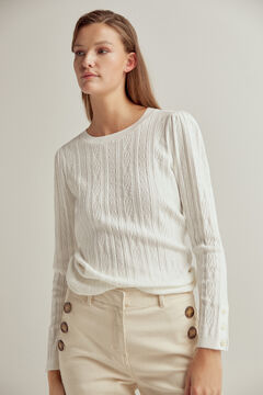 Pedro del Hierro Cross-knit patterned jumper Beige