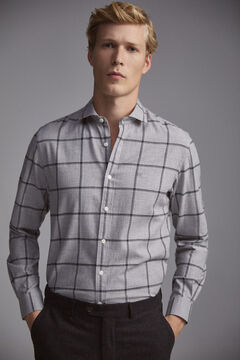 Pedro del Hierro Cashmere touch cotton windowpane check shirt Grey
