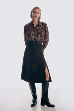 Pedro del Hierro Two-tone pleated jersey-knit skirt Brown