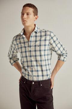 Pedro del Hierro Checked cotton shirt Burgundy