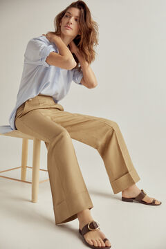 Pedro del Hierro Wide-leg trousers with buttons Beige