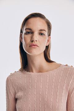 Pedro del Hierro Fine cross-knit jumper Pink