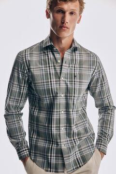 Pedro del Hierro Camisa xadrez soft non iron algodão Verde