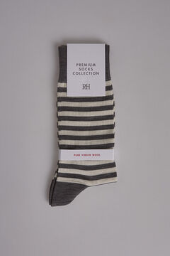 Pedro del Hierro Striped wool socks Grey