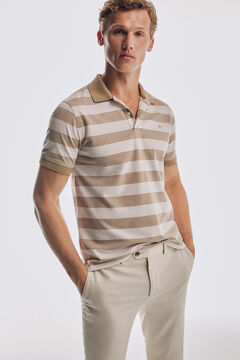 Pedro del Hierro Short sleeve striped polo shirt Beige