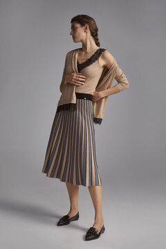 Pedro del Hierro Three-colour pleated skirt Grey