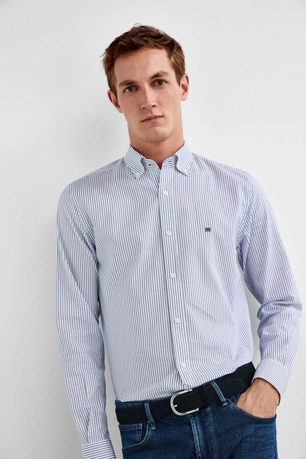 42847630033 Pedro del Hierro Camisa rayas tejido doble cara Azul