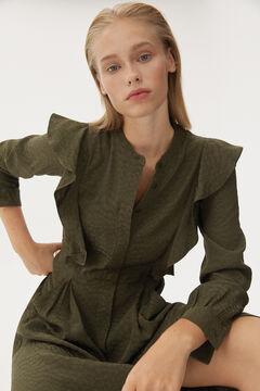 Pedro del Hierro Viscose jacquard flounced dress Grey