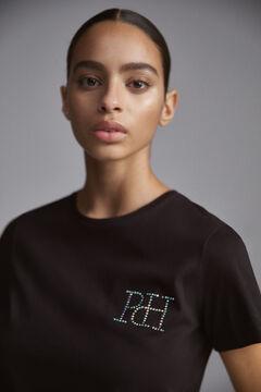Pedro del Hierro Camiseta manga curta pescoço caixa logotipo em strass iridiscente Preto