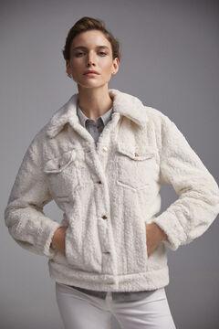Pedro del Hierro Faux shearling jacket Ecru