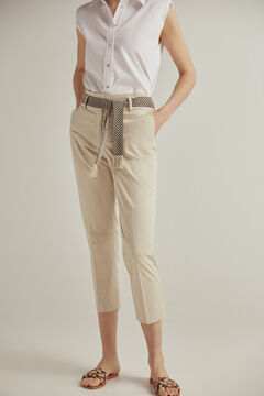 Pedro del Hierro Slim fit poplin trousers  Brown