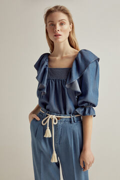 Pedro del Hierro Set of blouse and jeans with leather sandal