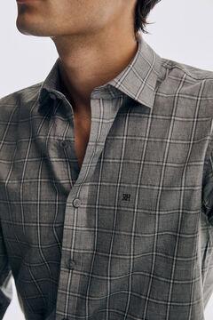 Pedro del Hierro Melange checked shirt Grey